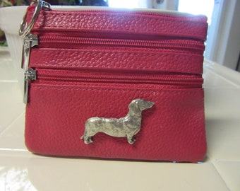 Sweet Dachshund Key Ring Purse-Room for Credit Cards Cash Change-Very Limited Edition