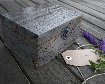 Handmade Floral Woodburned Jewelry Box