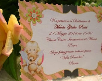 Personalized Baptism invitation with baby girl