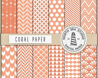 Coral Digital Paper, Coral Backgrounds With Arrows, Polkadot, Triangles, Chevron, Scrapbooking Paper Pack, BUY5FOR8