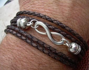 Leather Bracelet, Infinity Bracelet,  Triple Wrap, Antique Brown Braided, Mens Bracelet, Womens Bracelet, Mens Jewelry, Womens Jewelry