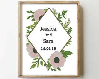 Anemones wedding cross stitch flowers floral geometric anniversary gift sampler love modern - Cross Stitch Pattern (Digital Format - PDF)