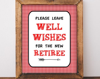 Retirement Party Sign, Retirement Wishes Sign, Leave Well Wishes for the New Retiree, Red BBQ Retirement, Barbecue Party, INSTANT PRINTABLE