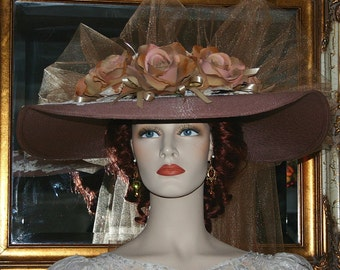 "Victorian Hat, Southern Belle Wedding Hat, Church Hat, 22"" Wide Brim Hat, Kentucky Derby Hat, Ascot Hat  – Kentucky Sweetheart"