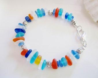 Sea Glass Pebble Bracelet, Confetti, Rainbow Colors, Sea Glass Bracelet, Beach Jewelry, Caribbean Blue, Aqua Orange, Summer Bracelet