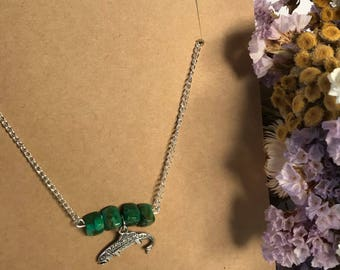 Green Agate Silver Trout Necklace