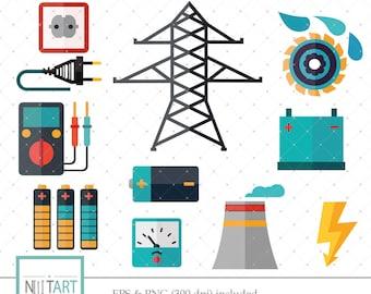 Electricity clipart, energy clip art, battery clip art, vector graphics, digital images -  CL 136