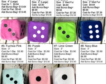 Bunco Fuzzy Dice Ball! Novelty Plush Dice.  Buy Single or Pair.  8 colors to choose from!