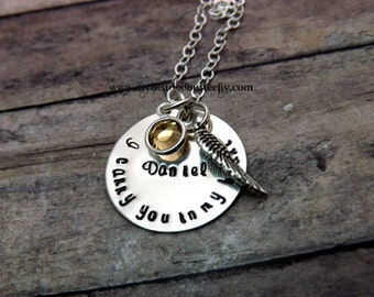 Remembrance necklace-Hand stamped jewelry-personalized jewelry-I carry you in my heart-loss of a loved one