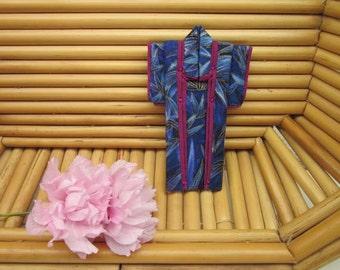 "PIN ""Blue Bamboo."" 3 inches tall. Handmade Cotton Origami Kimono Pin. Fuchsia Lining. Wear it. Hang It. Frame It."