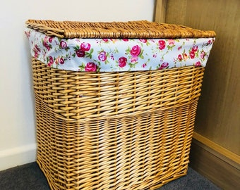 Large Floral Storage Laundry Washing Basket Fabric Lined Wicker Bathroom Bedroom