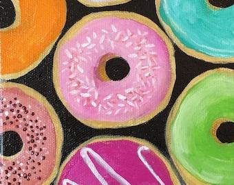 Original Acrylic Painting- Donuts - Art by Amanda Shelton - food art decorative art donut painting