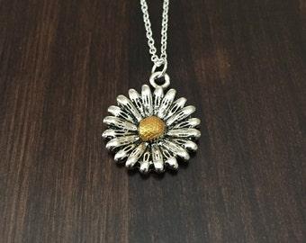 Sunflower Necklace, Sunflower, Gold Sunflower Necklace, Silver Sunflower Necklace, Flower Necklace, Sunflower Pendant, Sunflower Jewelry