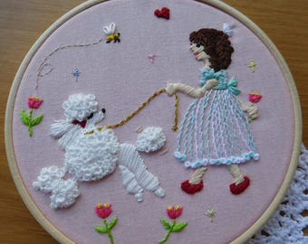 Free shipping, Poodle embroidery, wall decor, embroidery hoop