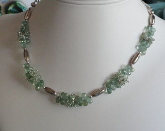 Green Mystic Quartz beaded necklace  -  205