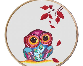 Owl cross stitch pattern, Autumn Owl Pattern, Cute owl, Counted cross stitch pattern, Cross Stitch Pattern PDF-Instant download