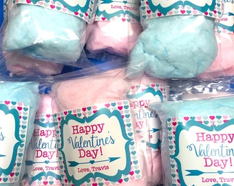 20 Valentine's Day Cotton Candy Party Favors - With Personalized Labels - READY TO SHIP