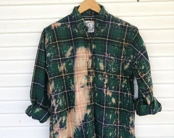 SMALL - Flannel Shirt - Bleached - Vintage Washed Flannel - Oversized Flannel - Distressed Flannel - Plaid Shirt - Fall Shirt - #100 BM
