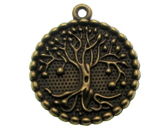 Bronze Large Tree of Life Charm | Antique Brass Tree of Life Pendant [10 pieces] --  Lead, Nickel & Cadmium Free -- Ships from the U.S.