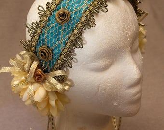 Handmade Bellydance Cosplay Performance Headband Headdress Blue and Gold Mermaid Goddess