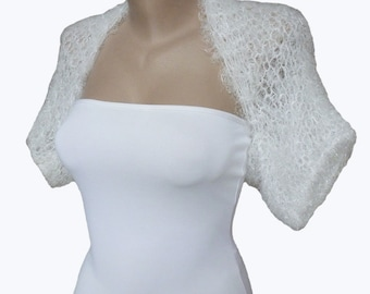 Knit  White Bolero - Wedding Bolero Shrug Sleeves Jacket - Wedding Bolero - Weddings  Bridal  For her