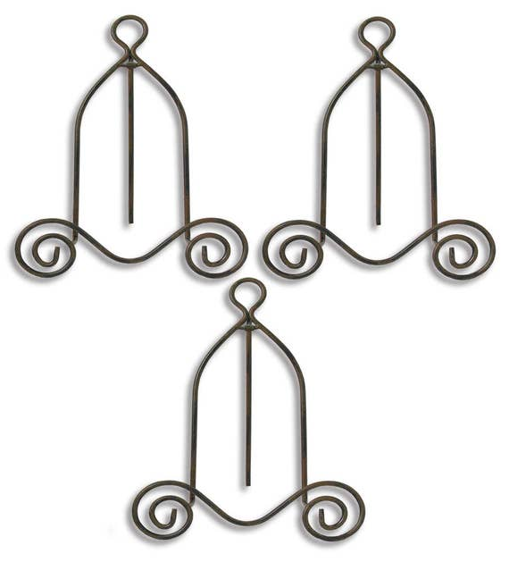 Black Metal Easel - Set of 3 - Wrought Iron - Display Plate Stand ...