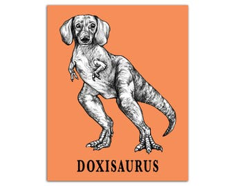 "Doxisaurus 8x10"" High Quality Color Print, Daschund + TRex Hybrid Animal, Wall Art, Office Décor, Whatif Creations, Portland, OR"