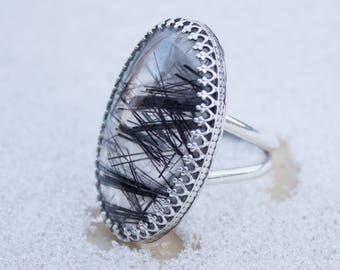 Black Rutilated Quartz Ring
