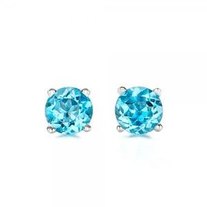 Blue topaz earrings studs 1/2 carat-Blue topaz-Natural blue topaz stud earrings-14 k white gold earnings-Birthday present-Anniversary gift