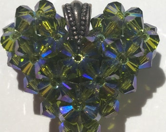 Beaded Swarovski Heart Pendant - Green iridescent