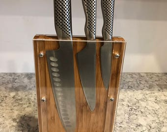Mini Bamboo Knife Block 6""