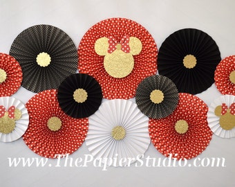 Red and Gold, Minnie Mouse Inspired, Set of 12 (TWELVE) paper fans/rosettes for Girl Baby Shower,Birthday Party or Wedding