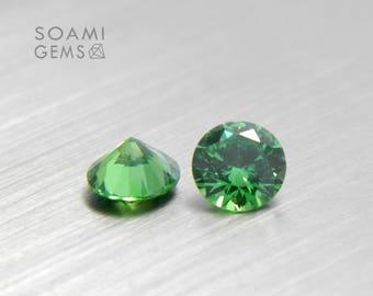 Loose Cubic zirconia round green, 2-6mm round cut green loose cubic zirconia faceted gem