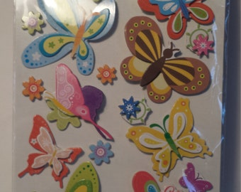 3 D Butterfly and Flowers Scrapbooking Stickers 18  Stickers Total, Craft Stickers
