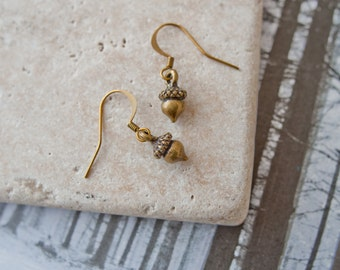 Acorn Earrings, Bronze Acorn Earrings, Acorn Charms, Acorn Drop Earrings, Acorn Jewellery, Autumn Jewellery, Stocking Filler,