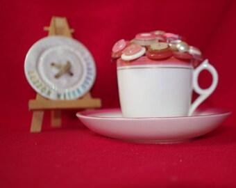 Salmon Pink OOAK  Tea Cup Posy Ornament