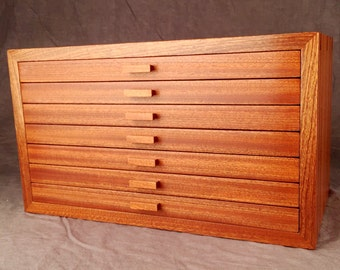 Large Jewelry Box, Quartered Sapele Mahogany