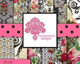 Vintage Rose and Black Wallpaper, Digital Paper, Vintage, 12 colors/variations, Instant Download
