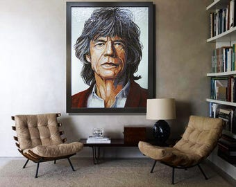 Mosaic Portrait of Mick Jagger From Rolling Stones – Unique Decor for your home
