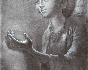 Cast Shadows - angel - 8 x 10 art print of a charcoal drawing