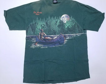 Bar Harbor Maine Vintage Native American Indian Boat Canue Injured Arm Green T Shirt XL