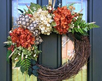 Fall Wreath for Front Door ~ Fall Hydrangea Wreath ~ Orange & Cream Hydrangea Wreath ~ Autumn Wreath ~ Fall Colors Wreath ~ Fall Door Decor