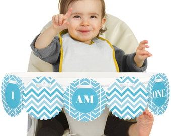 Chevron Blue - 1st Birthday - I Am One - First Birthday High Chair Banner - First Birthday Party Decorations