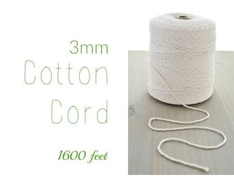Cordon en macramé / / coton ficelle / / corde de coton naturel 3mm / / String en coton / / teinte cordon en coton / / 1600 ft