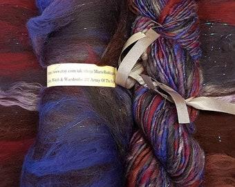Narnia Art Yarn / Handspun Yarn / 22 Army Of The Night / Purple / Black / Maroon / Blue / Single Ply / 110g / Knitting / Luxury Crochet