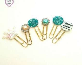 Keep Calm Paper Clip set of 6 Planner Clips teal