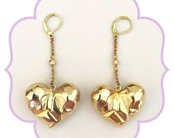 Hearts of Gold Dangle Earrings