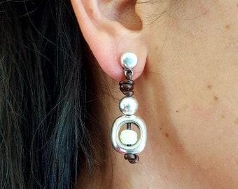 Leather earrings, urban earrings, silver earrings for women, drop earrings, Bohemian earrings, dainty womens earrings, beaded earrings,