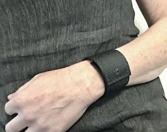 UNIK Black Snake leather Cuff Bracelet