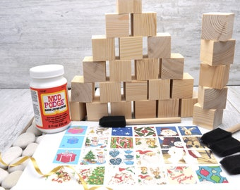 Wooden Blocks. Christmas set. For: Baby Shower Crafts; Craft Party; Childrens Blocks; Nursery Décor; Baby Décor; Baby Shower Gift; New Baby